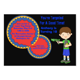 Boys Laser Tag Birthday Party Invitation
