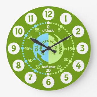 Boys learn to tell time green wall clock