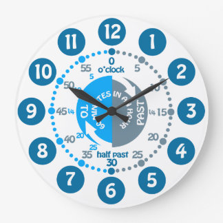 Boys learn to tell time muted blue grey wall clock