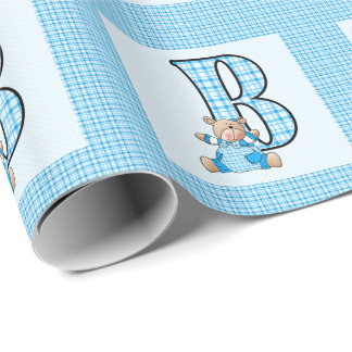 Boys Letter 'B' with Teddy Bear and Blue Gingham Wrapping Paper
