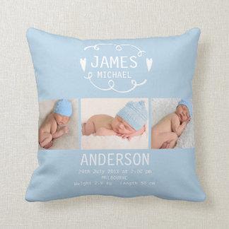 Boys Light Blue Photo Birth Announcement Cushion