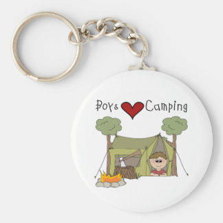 Boys Love Camping Basic Round Button Key Ring