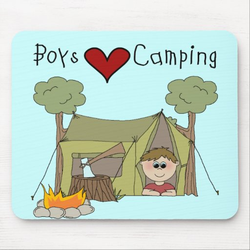 Boys Love Camping Mouse Mats