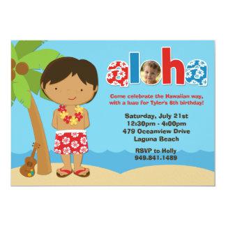 "Boys Luau Birthday Party Invitation 5"" X 7"" Invitation Card"