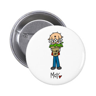 Boy's May Birthday Pinback Button