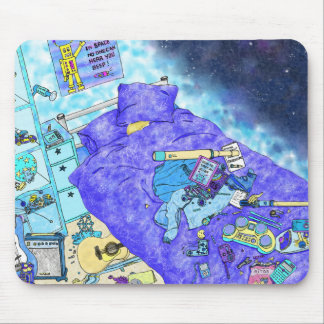 Boy's Messy Bedroom, blue themed family humour art Mouse Pad