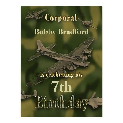 Boys Military Birthday Invitation - Camo Custom Announcements
