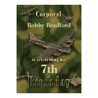 Boys Military Birthday Invitation - Camo