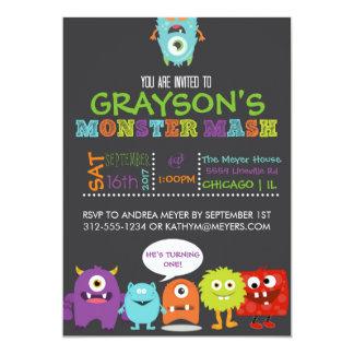 Boys Monster Mash Birthday Party Invitation