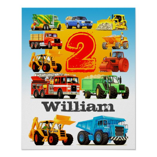 Boy's Name and Age 2nd Birthday Construction Truck