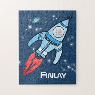 Boys name and photo rocket space kids jigsaw