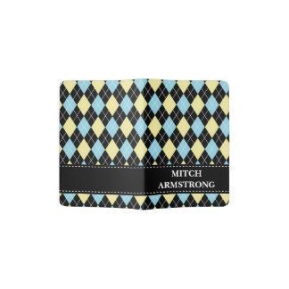 Boy's Name Custom Argyle Pattern blue yellow black Passport Holder