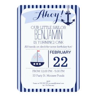Boys Nautical 1st Birthday Invitation