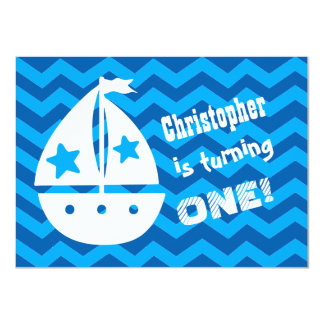 Boys Nautical 1st Birthday with Sailboat A01 Card