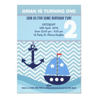 Boys Nautical 2nd Birthday Party Invitation