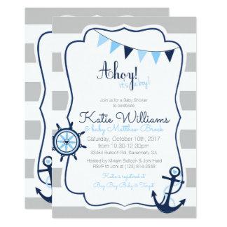 Boys Nautical Baby Shower Card Invitation