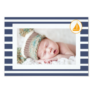 Boys Nautical Baptism Thank You Photo Flat Card 9 Cm X 13 Cm Invitation Card