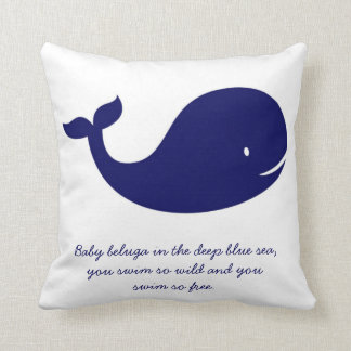 Boy's Navy Blue Ocean Theme Whale Pillow