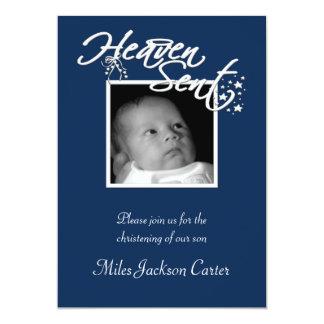 Boys Navy Blue Photo Christening 13 Cm X 18 Cm Invitation Card