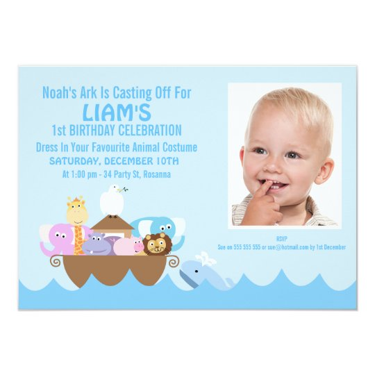 Boys Noah's Ark Photo Birthday Invitation