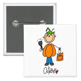 Boy's October Birthday 15 Cm Square Badge