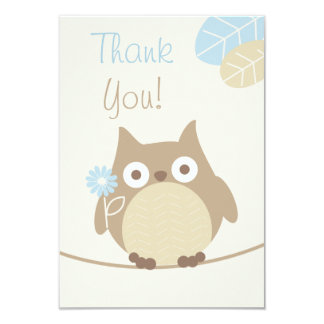 Boys Owl Baby Shower Thank You Card