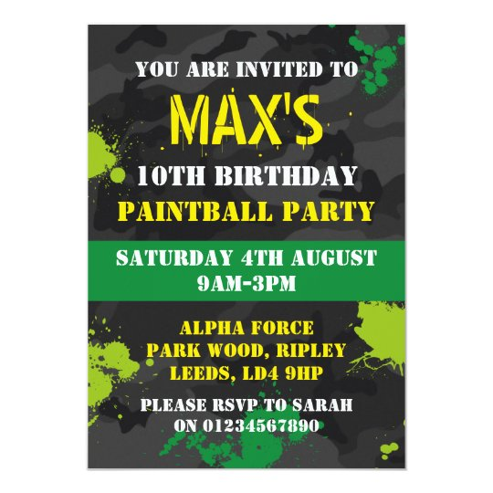 Boys Paintball themed birthday party invitation