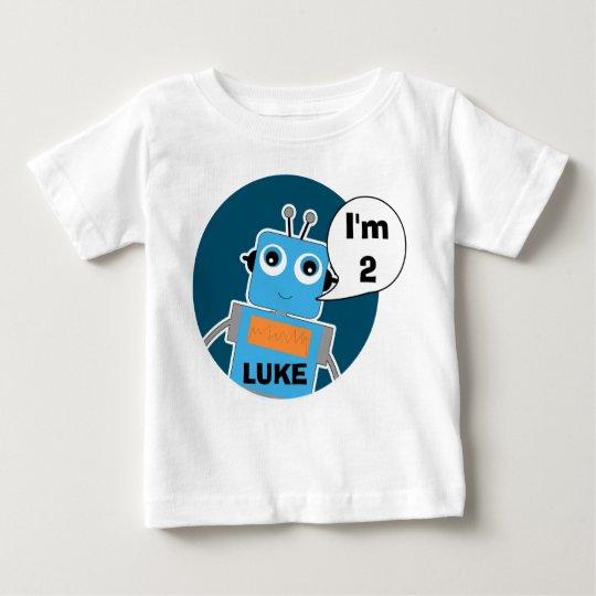 Boy's Personalised 2nd Birthday Robot T-Shirt
