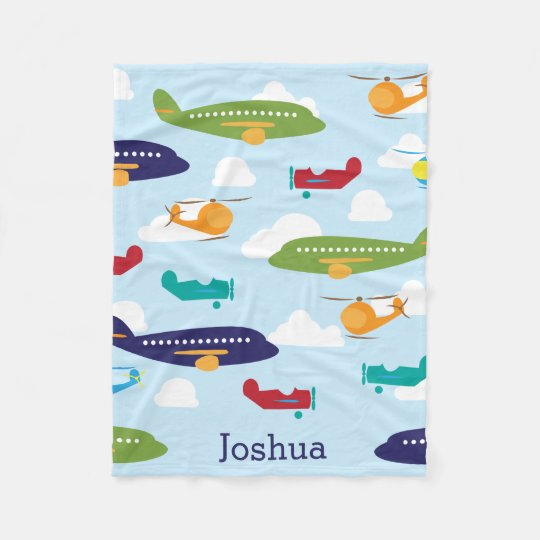 Boy's Personalised Aviator Aeroplanes Fleece Blanket