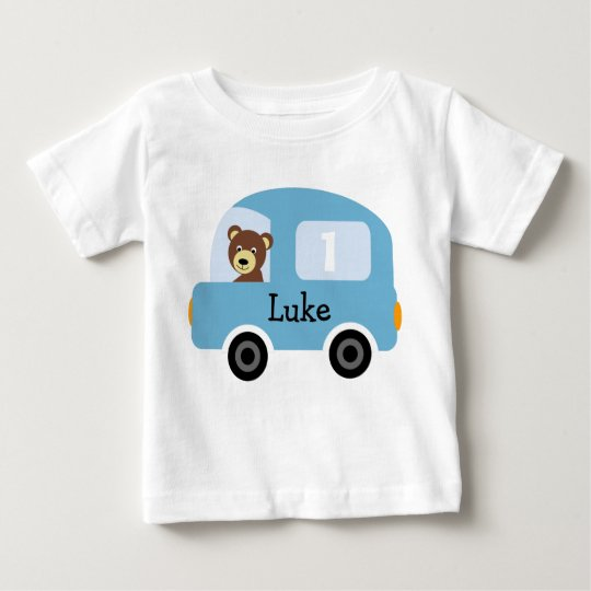Boy's Personalised Blue Car 1st Birthday T-Shirt