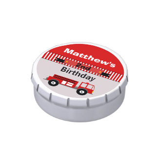 Boys Personalized Fire Engine Birthday Candy Tin