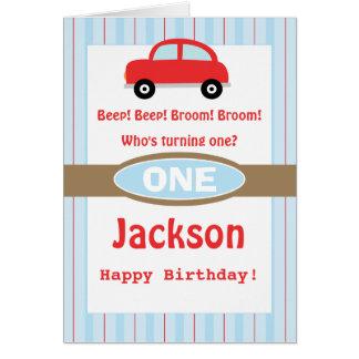 Boys Personalized Red Car Birthday Card