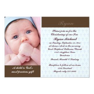 Boys Photo Christening 13 Cm X 18 Cm Invitation Card