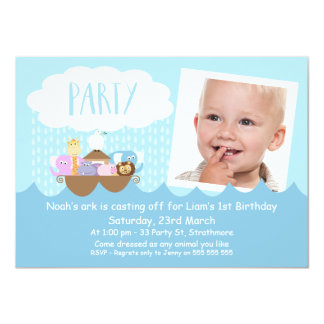 Boys Photo Noah's Ark Birthday Party Invitation
