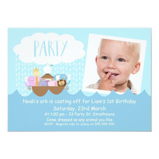 Boys Photo Noah's Ark Birthday Party Invitation