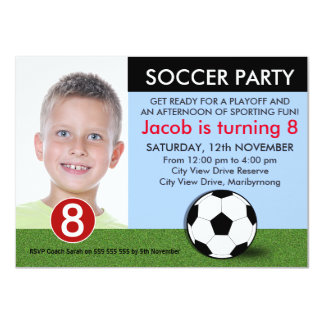 Boys Photo Soccer Birthday Invitation
