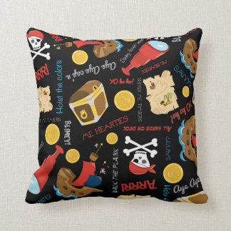 Boys pirate pattern themed room decor pillow