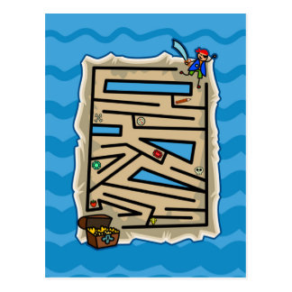 Boys Pirate Treasure Hunt Puzzle Game Postcard