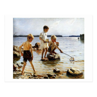 Boys playing at the beach postcard