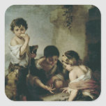 Boys Playing Dice, c.1670-75 Square Sticker