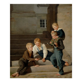 Boys Playing Dice in Front of Christiansborg Poster