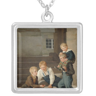 Boys Playing Dice in Front of Christiansborg Silver Plated Necklace