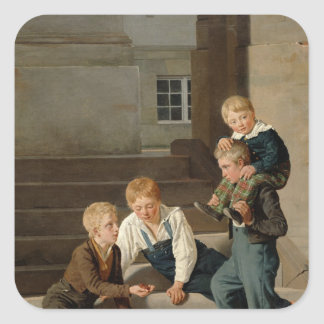 Boys Playing Dice in Front of Christiansborg Square Sticker