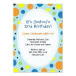 Boys polka dot themed party invitation