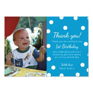 Boys polka dotted birthday thank you card