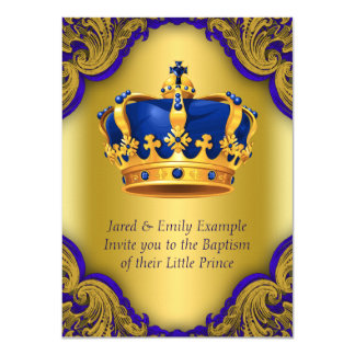 Boys Prince Baptism Royal Blue and Gold Crown Card