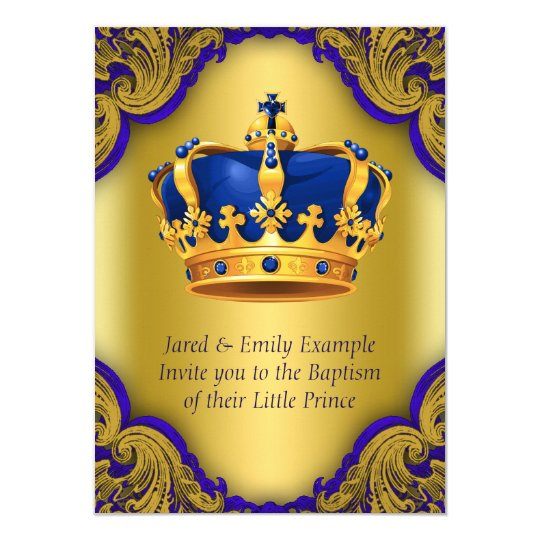 Boys Prince Baptism Royal Blue and Gold Crown