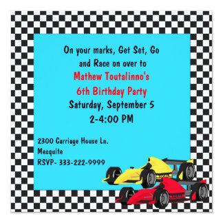 Boy's Race Cars Birthday Party Invitation