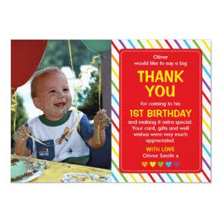 Boys rainbow birthday thank you card