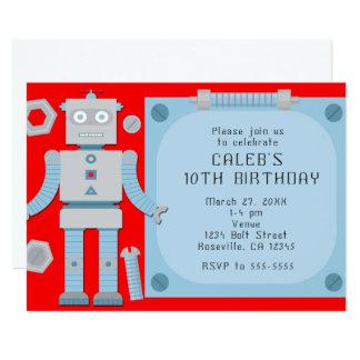Boys Red Robot Custom Birthday Party Invitations